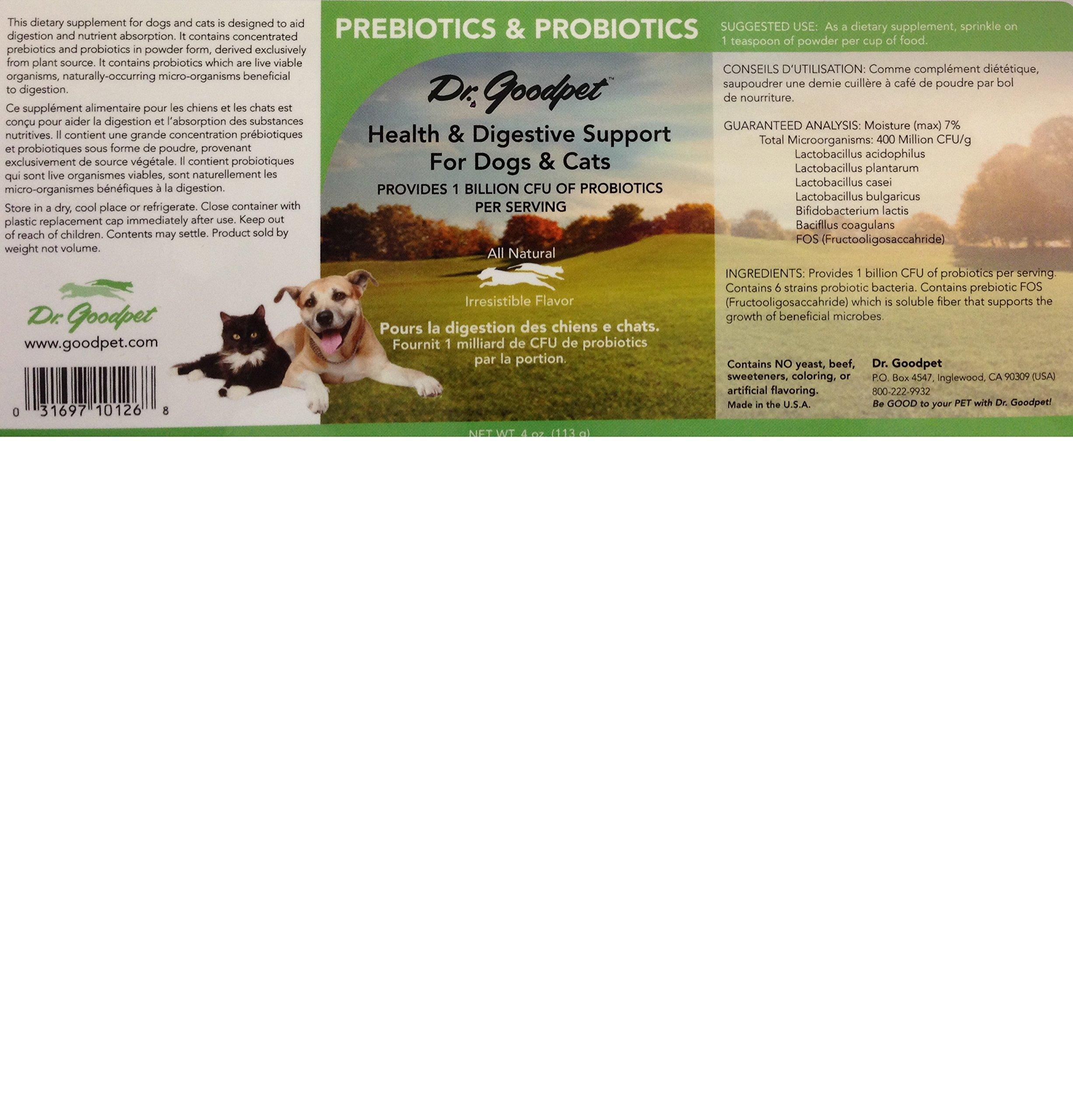 Dr. Goodpet Probiotics w/prebiotics - Billions of High-Potency CFU's - Superior Digestive Support by Dr. Goodpet