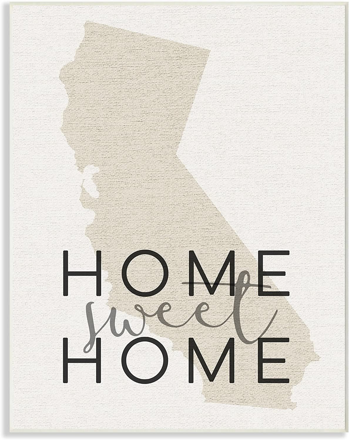 The Stupell Home Décor Collection Sweet Home California Typography Wall Plaque Art, 10 x 15