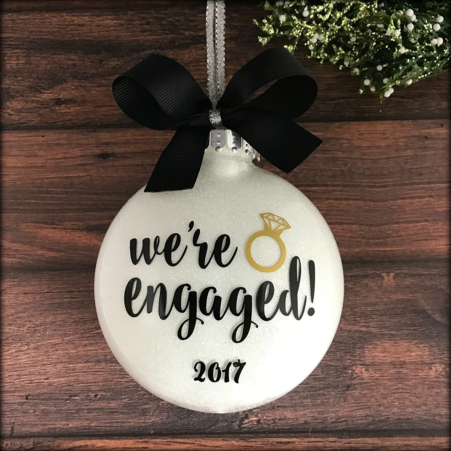 Couples christmas ornaments - Amazon Com Engaged Ornament Engagement Christmas Ornament Personalized Engagement Ornaments Handmade