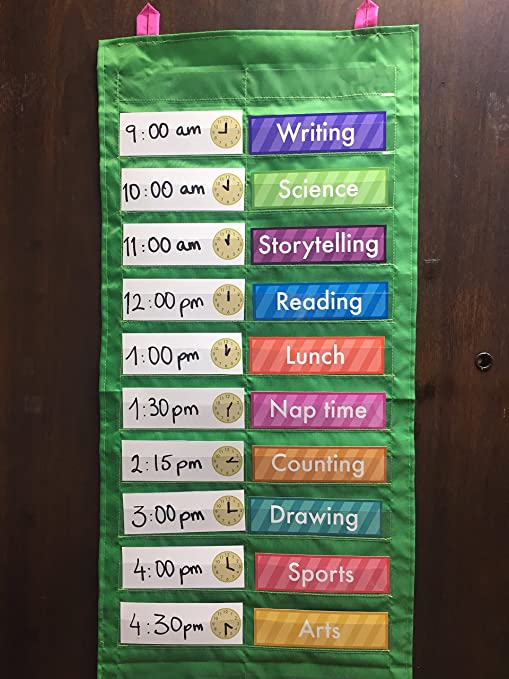 Amazon com daily schedule pocket chart pocket chart cards