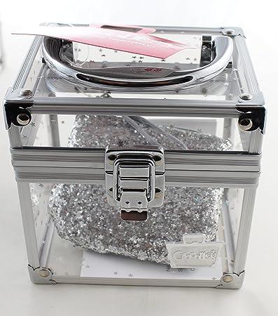 a4ed9ea84 Amazon.com : Caboodles MINI CUBE CLEAR TRAIN CASE WITH BONUS WHITE GLITTER  ZIPPER COIN TRINKET PURSE BAG : Beauty