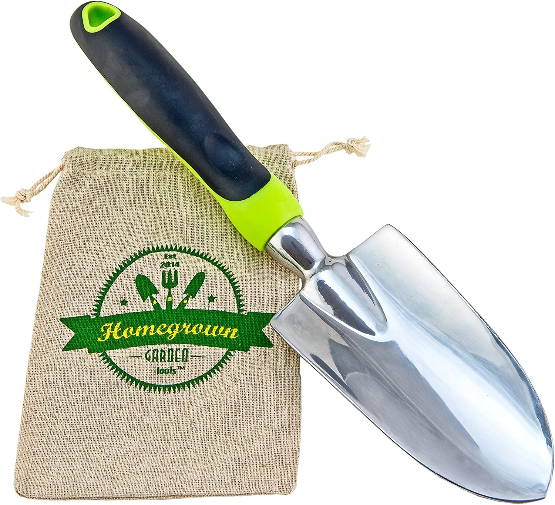 Garden Trowel Hand Shovel with Large Ergonomic Handle, Best for Digging Planting Includes Burlap Sack – Great Gardening Gift