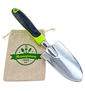 Garden Trowel & Hand Shovel with Large Ergonomic Handle, Best for Digging & Planting; Includes Burlap Sack - Great Gardening Gift