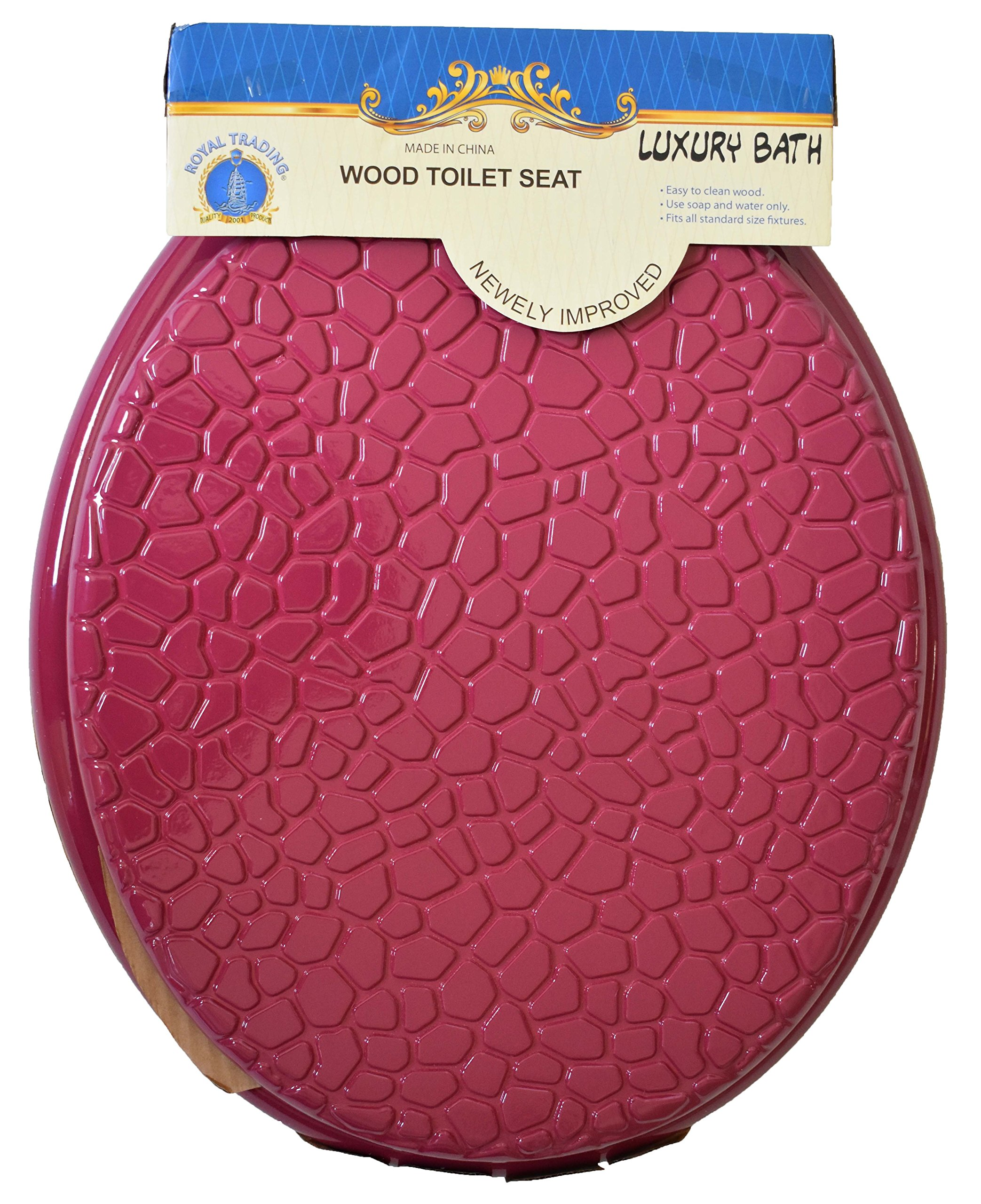 Luxury Home Fashion Round Standard Shells Design Wood Toilet Seat Closed Front Lid, Hinges, Post Nuts, and Hardware included (Burgundy)
