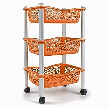 Carrellita almacenadora para cocina con canastas y ruedas Estante para frutas y vegetales - Plastico de uso Rudo - naranja: Amazon.es: Hogar