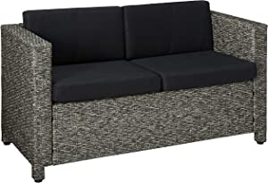 Christopher Knight Home Puerta Outdoor Wicker Loveseat with Cushions, Grey / Mixed Black Cushions