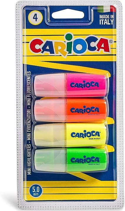 Carioca Minilight - Pack de 4 subrayadores fluorescentes, multicolor: Amazon.es: Oficina y papelería