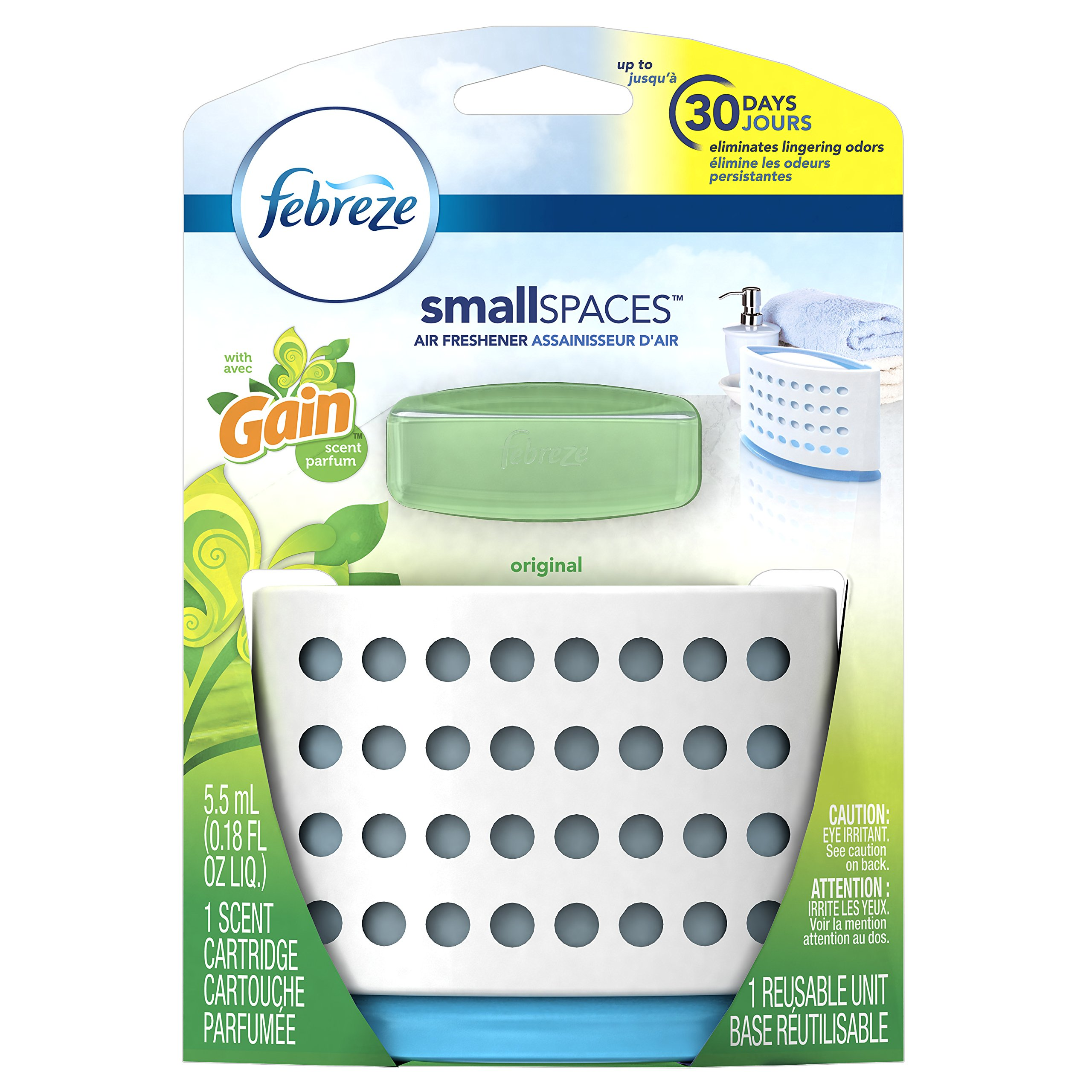 Febreze Air Freshener,  Small Spaces Air Freshener,  with Gain Original Starter Kit Air Freshener 5.5 mL(Pack of 8)