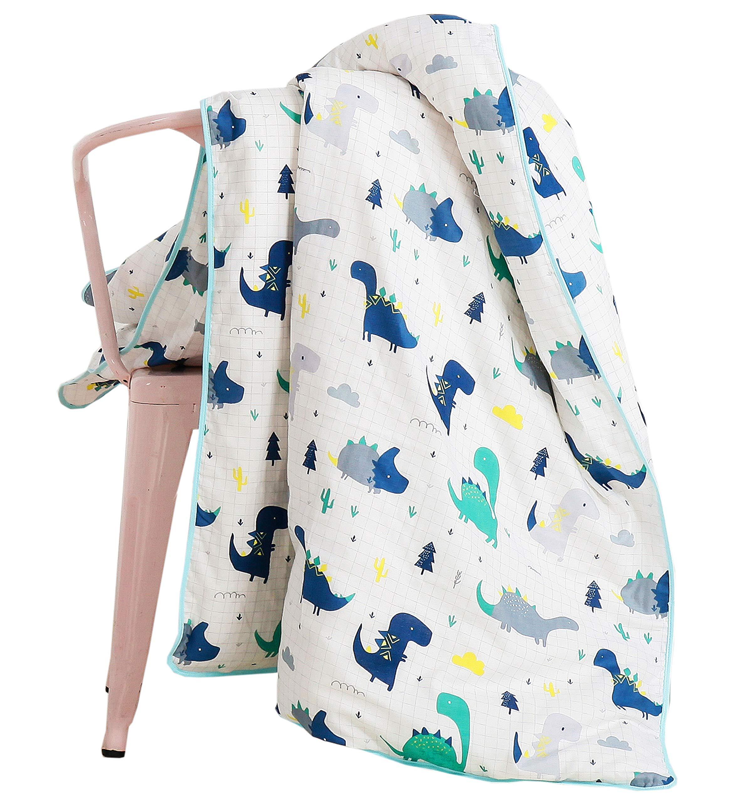 J-pinno Boys Dinosaur Cartoon Muslin Duvet Covers, 100% Cotton, Invisible Zipper, for Kids Twin Bedding Decoration Gift (Twin 59'' X 78'', Dinosaur)