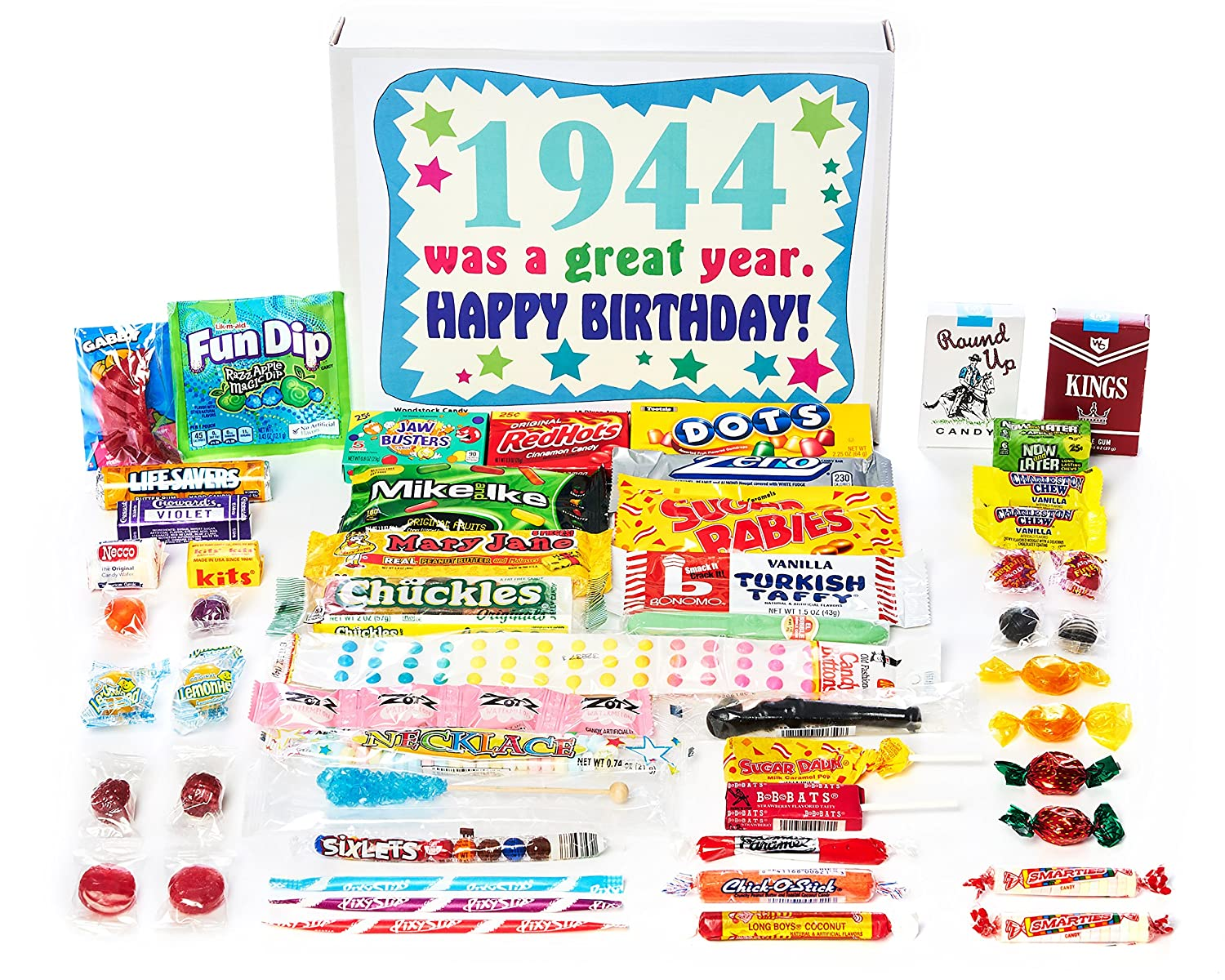 Woodstock Candy ~ 1944 77th Birthday Gift Box of Nostalgic Retro Candy from Childhood for 77 Year Old Man or Woman Born 1944