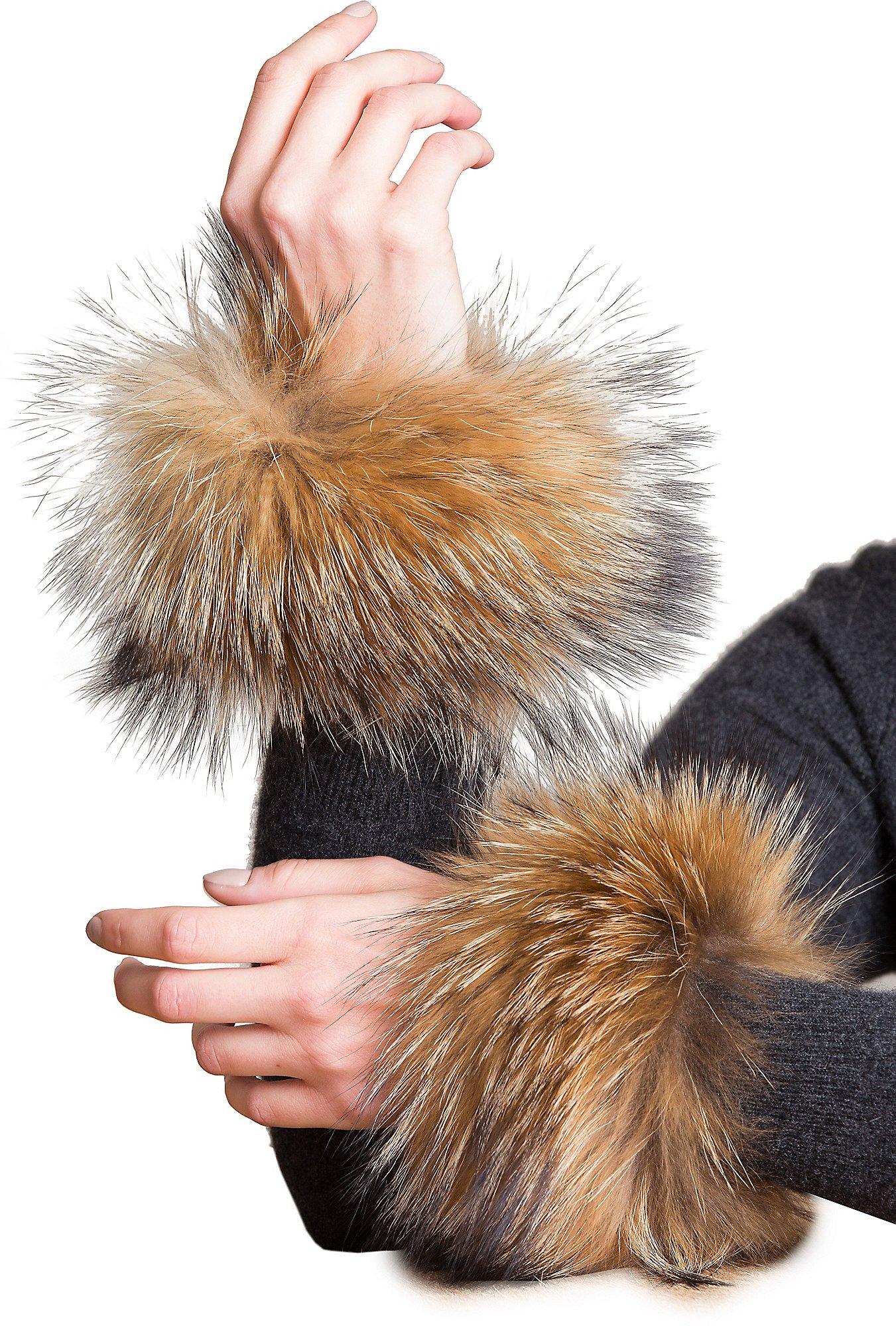 Women's Finn Raccoon Fur Snap Cuffs by Overland Sheepskin Co