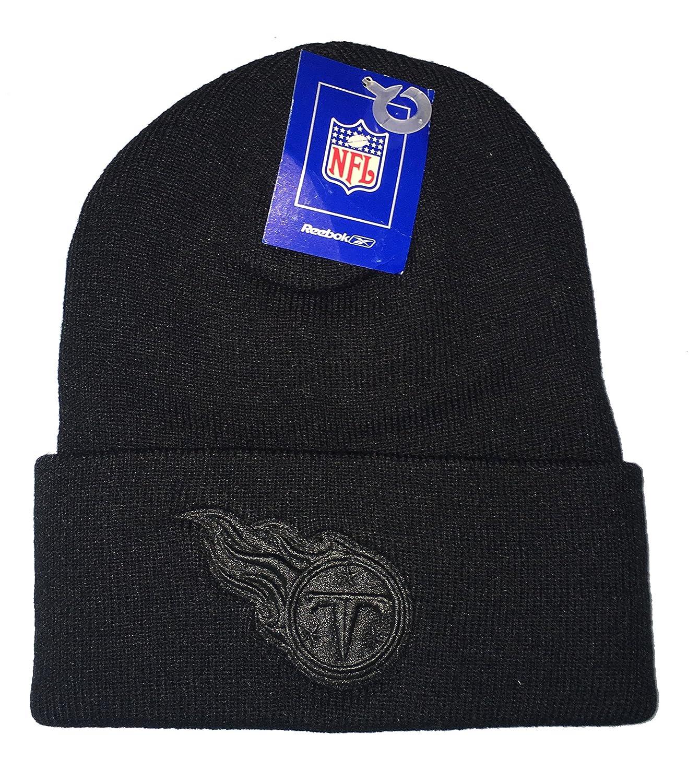Reebok NFL Classic Cuff Beanie Hat Black Cuffed Football Winter Knit Toque Cap