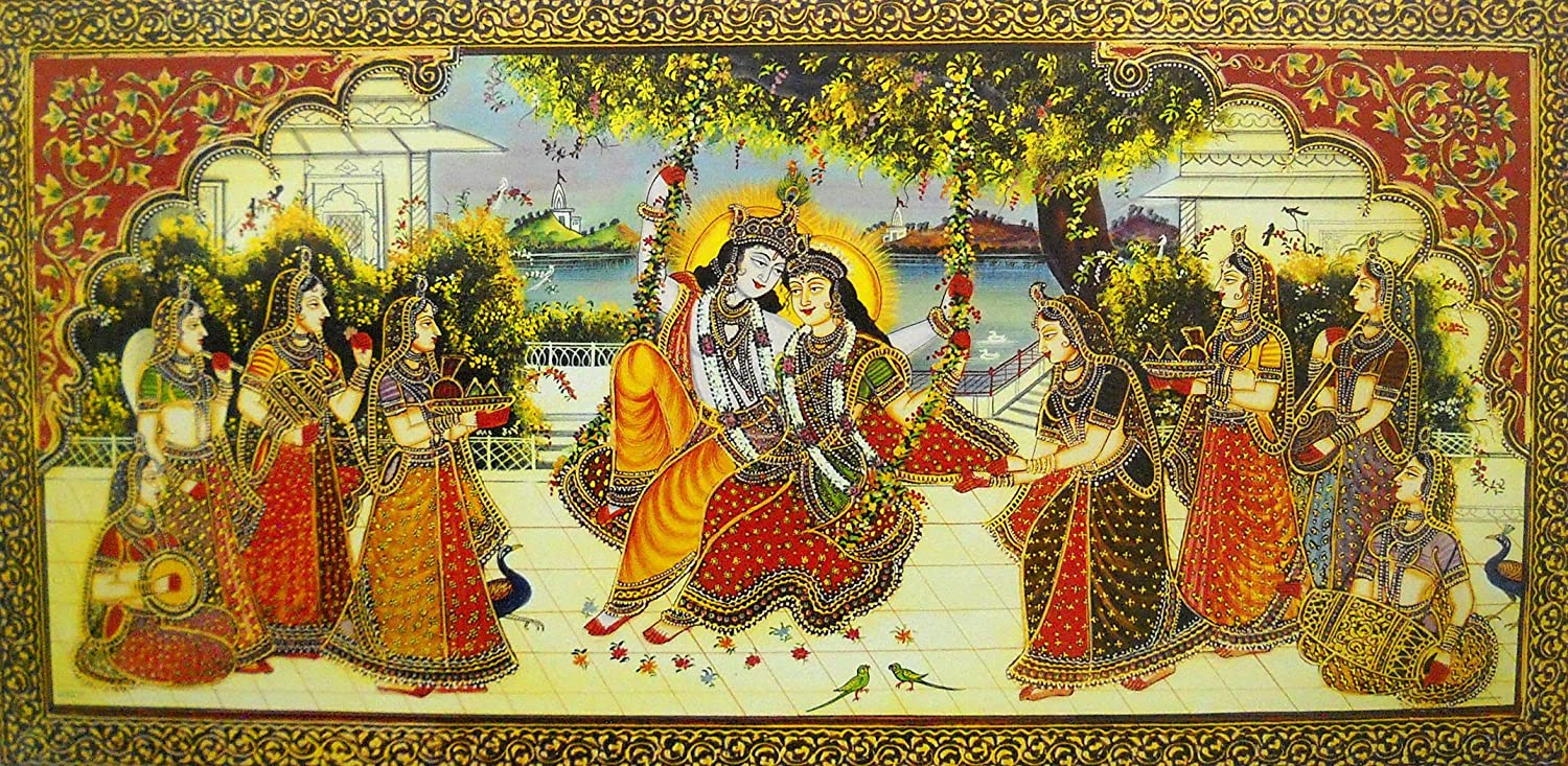 """Radha Krishna on Swing/Large Size Rolled Canvas Art Print Poster (20""""x40"""" Inches)"""