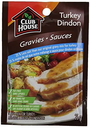 Club House, Dry SauceSeasoningMarinade Mix, Turkey Gravy, Less Salt, 25g