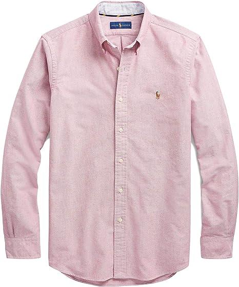 Mens Cotton Rich Button Down Collar Oxford Shirt Pink Blue White Trim Slim Fit