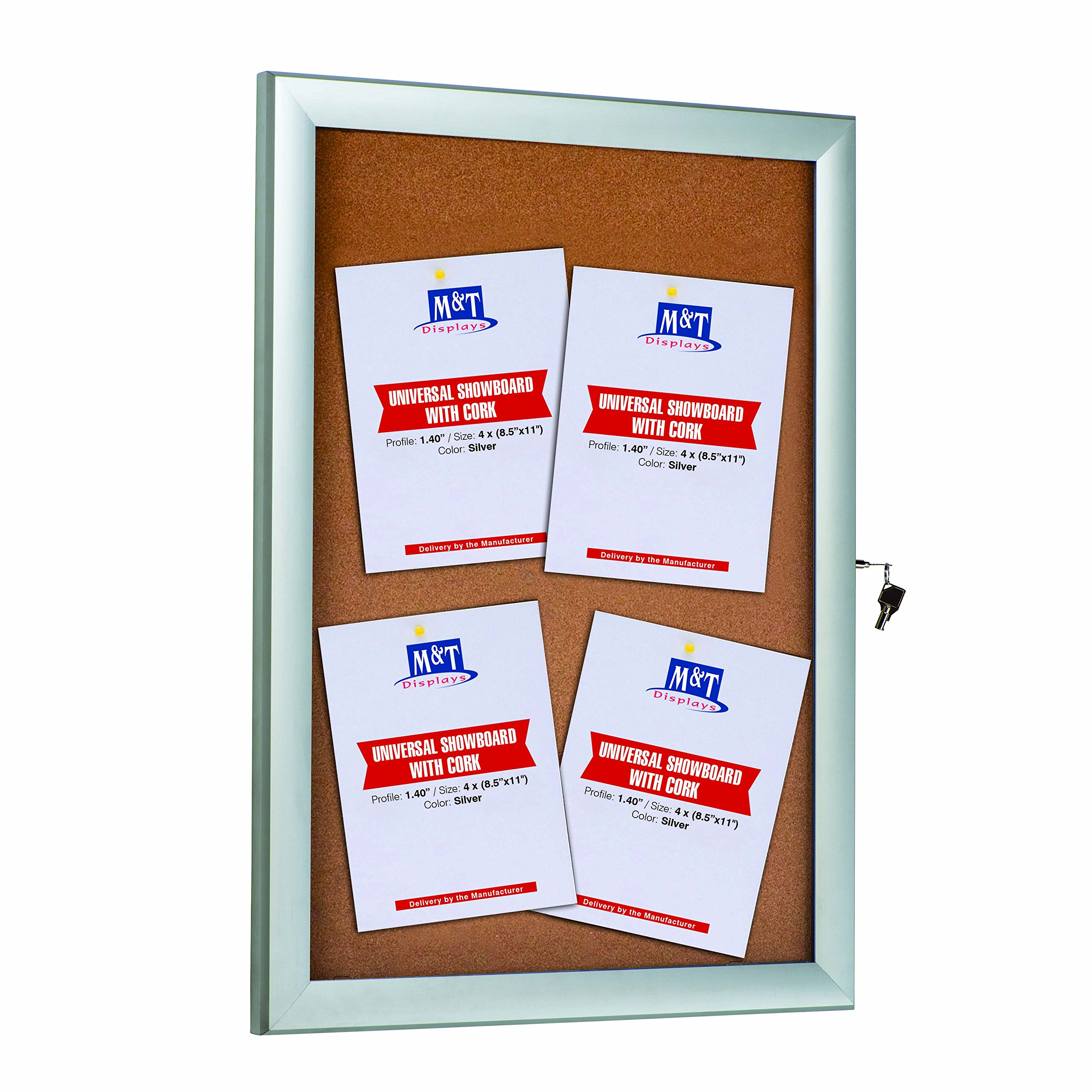 Enclosed Cork Bulletin Board for Outdoor Use with Locking Door 22x28, Silver, Weatherproof Noticeboard by Displays Market