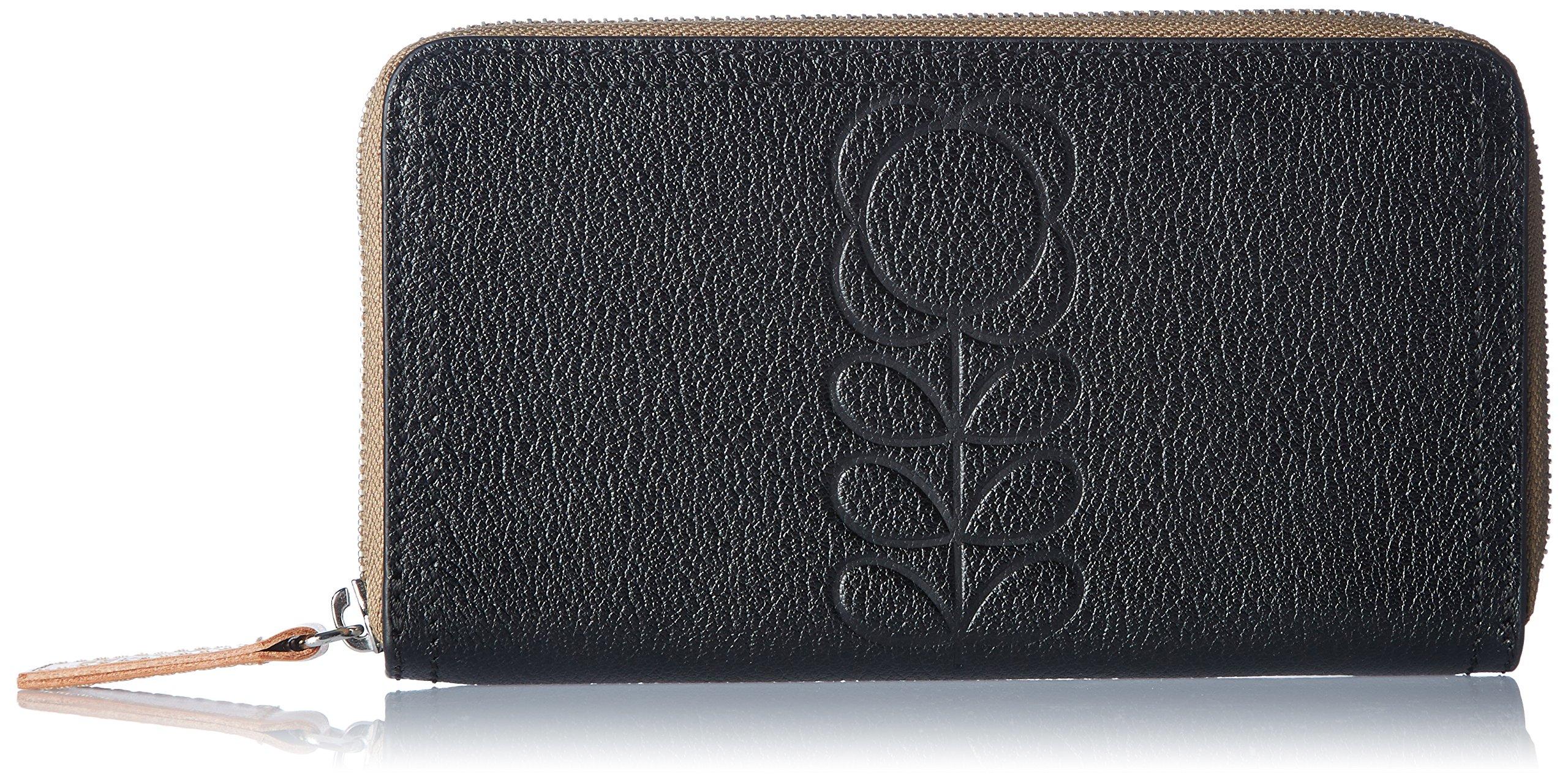 Flower Stem Embossed Leather Big Zip Wallet Wallet, Black, One Size