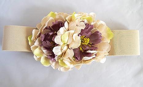 el más nuevo d2489 23339 Cinturón elástico beige con adorno de flores. Envío GRATIS 72h