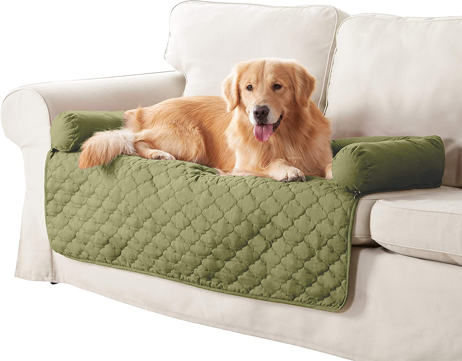 Quick Fit Wubba Reversible Pet Bed Couch Cover for Dogs, 45x34, Sage-Chocolate