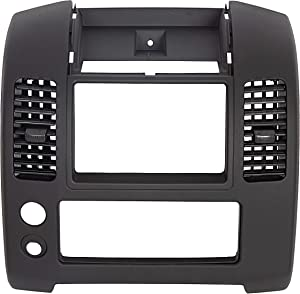 ECOTRIC Front Center Dash Console Compatible with 2006-2016 Nissan Frontier, Front Center Dash Console Instrument Panel Lid Bezel Dashboard Cover Replacement for Part Number 68259-ZP16C, Matte Black