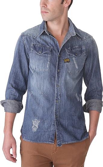 G-Star Co Cowboy Ring - Camisa de Manga Larga para Hombre, Talla 41/42, Color Azul (Medium Aged): Amazon.es: Ropa y accesorios