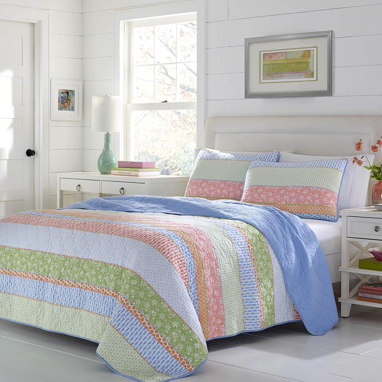 2 Piece Beautiful Bright Blue Green Orange Pink Twin Quilt Set, Stripe Patchwork Themed Reversible Bedding Bohemian Boho Coastal French Country Shabby Chic Vintage Vibrant Lime Chambray, Cotton