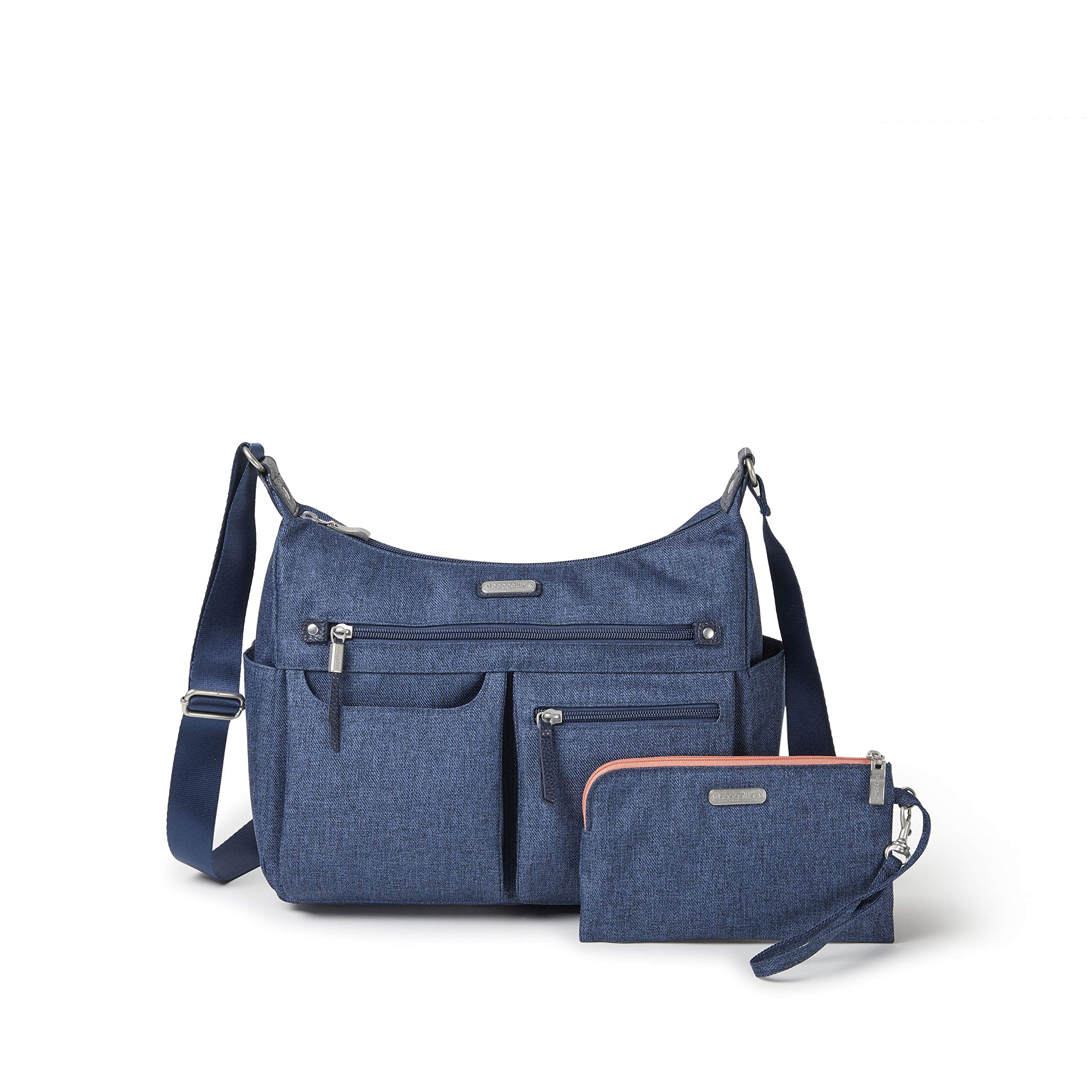 Baggallini Women's New Classic''Heritage'' Anywhere Large Hobo with RFID Phone Wristlet Steel Blue One Size