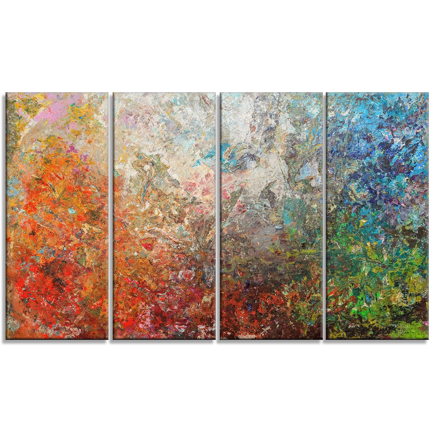 Designart PT6548-271 4 Panel ''Board Stained Art Abstract'' Canvas Art Print, Orange, 48x28'' by Design Art