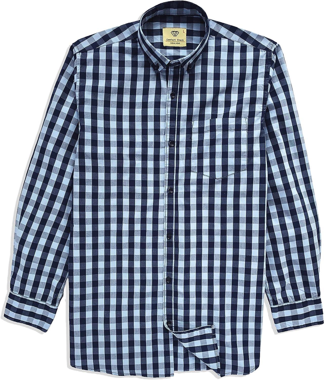 Comfort Check Men's Casual Long Sleeve Button Down Cotton Plaid Shirt