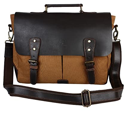 15 Inch Laptop Messenger Bag - Vintage Canvas Cross body Shoulder Bag -  Office Gift for Men   Women  Amazon.co.uk  Luggage 5fdf86375fcbc