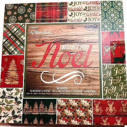 Christmas Scrapbook Paper.Rustic Noel 6x6 Christmas Scrapbooking Paper Pad 48 Sheets Wood Deer Holly Trees