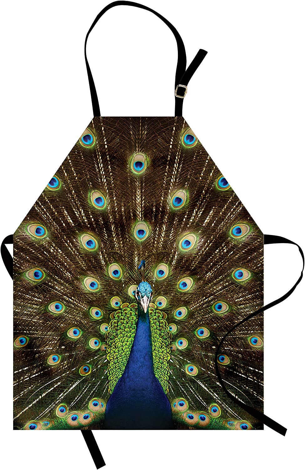 Ambesonne Peacock Apron, Portrait of Peacock with Feathers Out Vibrant Colors Birds Summer Garden, Unisex Kitchen Bib with Adjustable Neck for Cooking Gardening, Adult Size, Navy Green