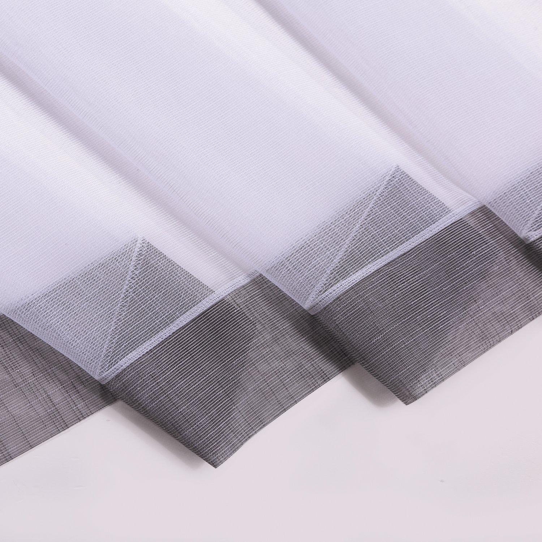 con cordino Nala tendina // pannello // cortina semitrasparente bianco con tocco colorato per bistro L x H:150/x 50/cm Tendina per bistro grigio chiaro qualit/à semitrasparente