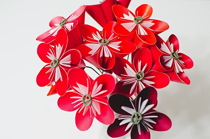 Amazon Red Origami Flower Bouquet Handmade