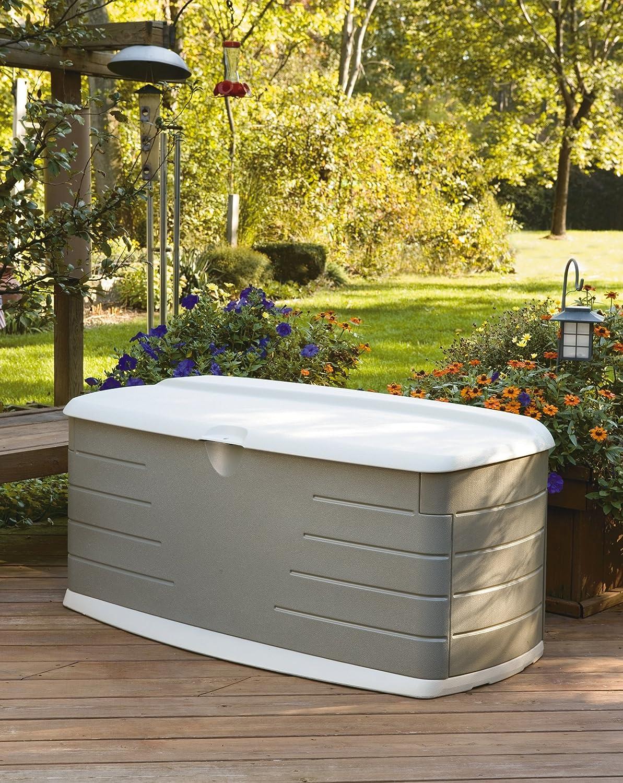 amazoncom rubbermaid deck box with seat large 90 gal 12 cu ft sandstone 5f22 rubbermaid deck storage patio lawn u0026 garden