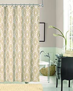 Dainty Home Gramercy Park Geometric Trellis Fabric Shower Curtain, 70 inch Wide x 72 inch Long, Taupe Beige/Ivory