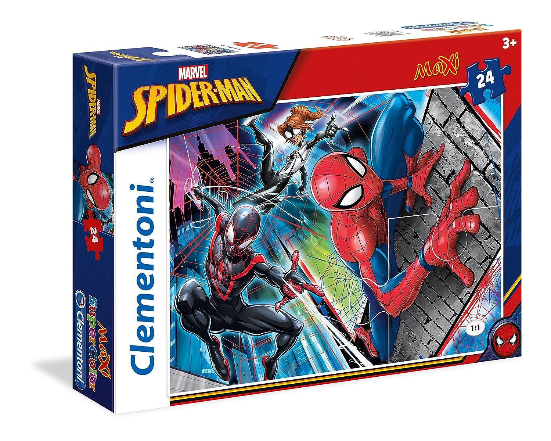 Clementoni - 24497 - Supercolor Puzzle- Spiderman - 24Maxi Pièces