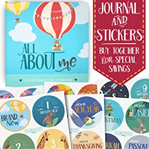 First Year Baby Memory Journal Book + Bonus Monthly Milestone Stickers. Baby Shower Gift + Keepsake to Record Photos + milestones. Five Year Scrapbook + Picture Album. Boy + Girl Babies. (Adventure)