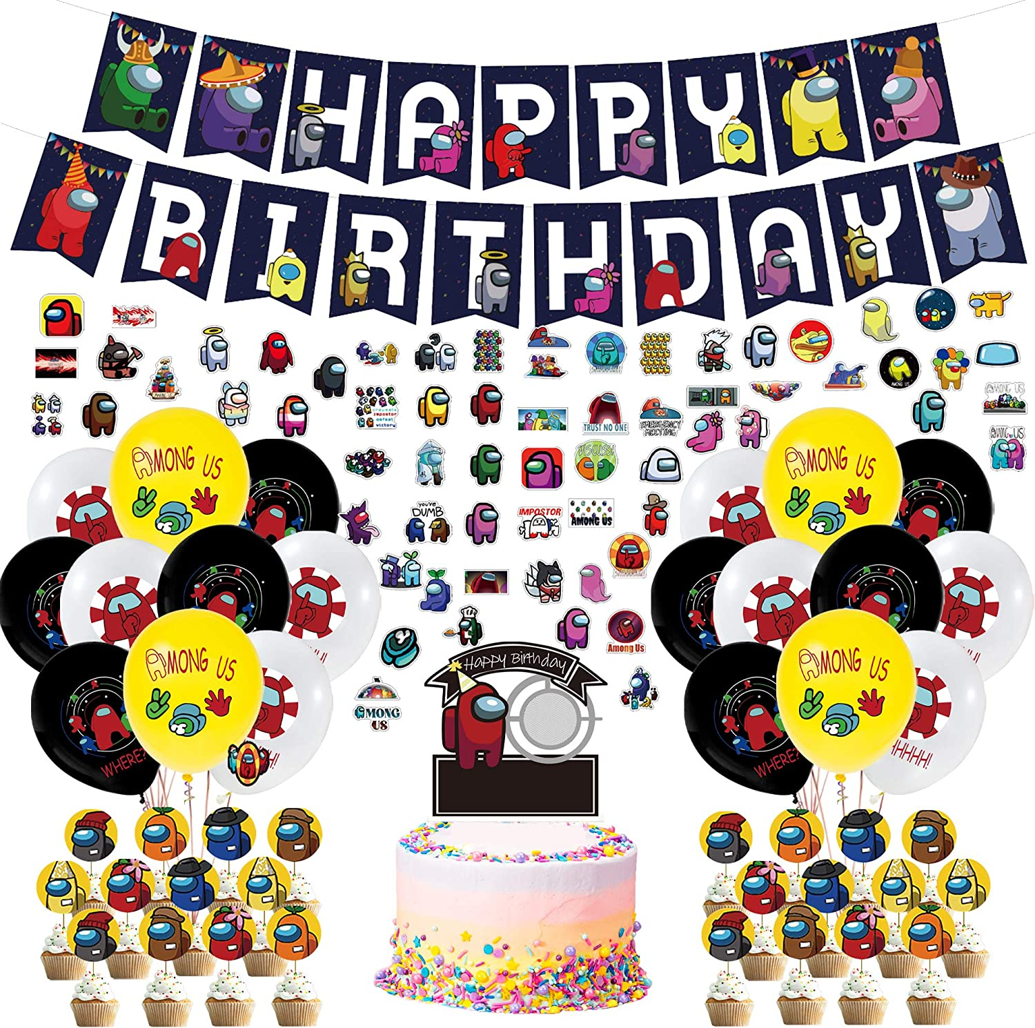 Swirls Among Us Stickers Among Us Birthday Party Decoration for Boys and Girls. Among Us Party Decoration for Kids Birthday Come with Balloons Cake Topper 98 PCS Among Us Party Supplies Cupcake Topper