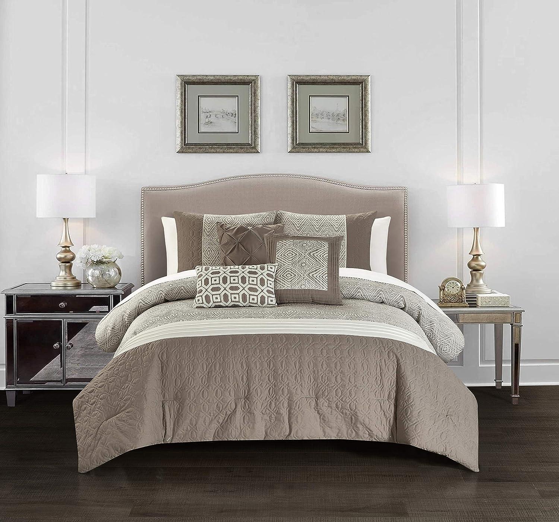 Chic Home Imani 6 Piece Comforter Set Jacquard Geometric Diamond Pattern Color Block Design Bedding - Decorative Pillows Shams Included, Queen, Beige