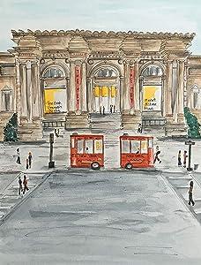 New York City Art Print, Metropolitan Museum of Art, Streetscape Painting, Whimsical Art Print, NYC Souvenir, NYC art