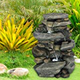 Outdoor Water Fountain With LED Lights, Lighted