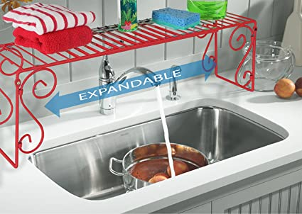 Old Home Kitchen Expandable Over Sink Shelf   Red