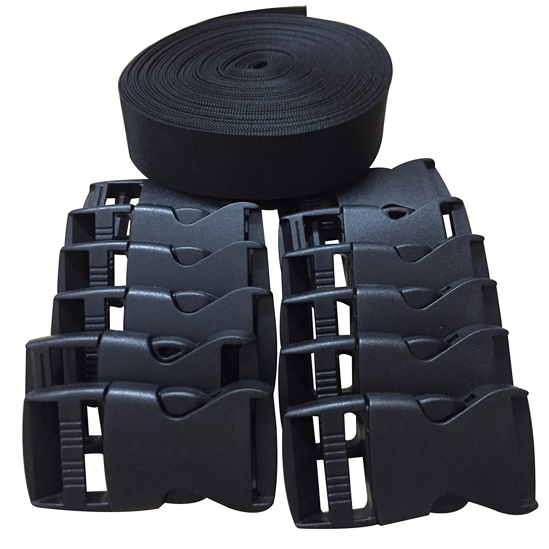 1 Inch Wide 10 Yards Black Nylon Heavy Webbing Strap+12 pcs black plastic 1-inch (25mm) flat side release buckles Bujingyun