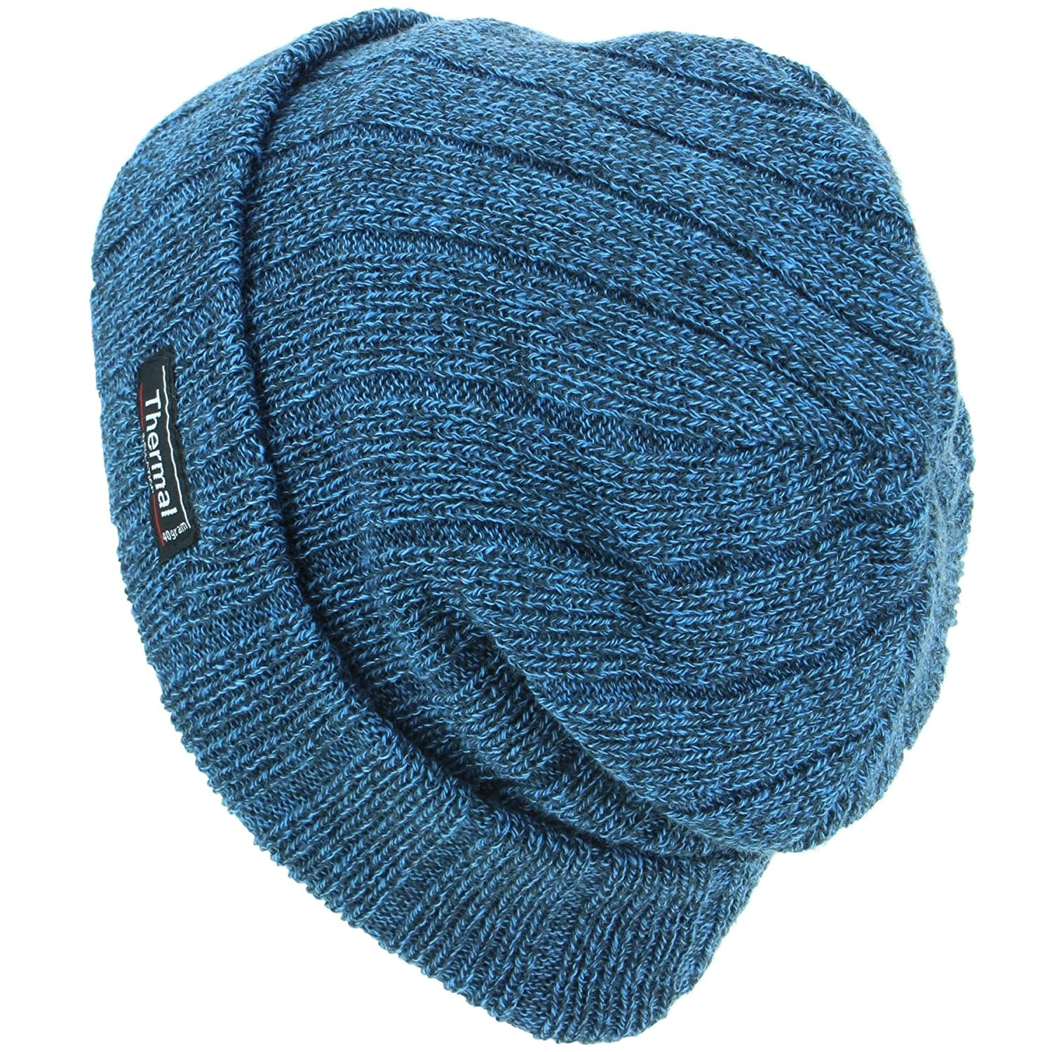 Thinsulate Fine Knit Marl Beanie Hat with Thermal Lining - Blue   Amazon.co.uk  Clothing c3aeedf2e86f