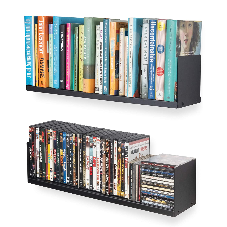 Wallniture Libro Wall Mountable Metal U Shape Multipurpose Bookshelf CD DVD Storage 24 Inches Display Rack in Black Set of 2