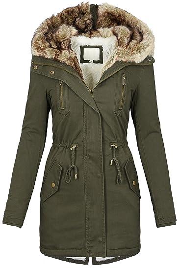 Golden Brands Selection Warm Women s Winter Parka Fur Collar Long Fur Coat  Winter Jacket S-XL B420 - Green - X-Large  Amazon.co.uk  Clothing 26c38e632e