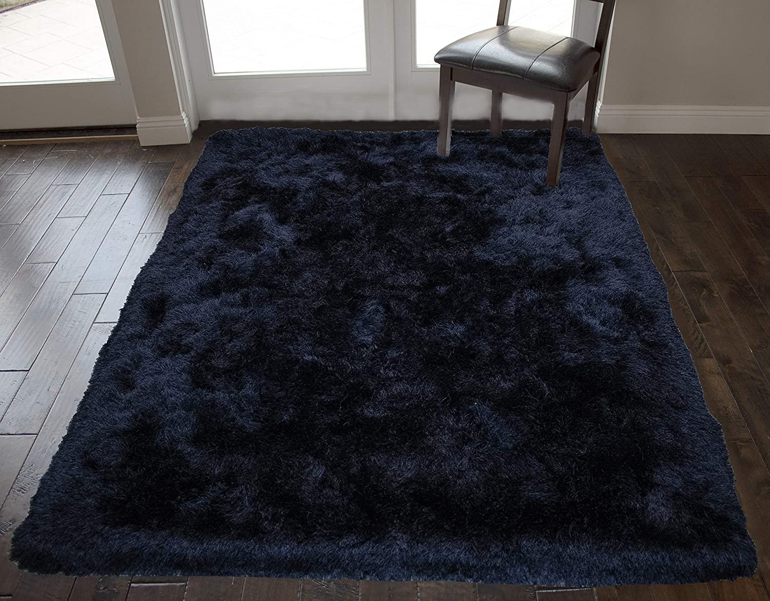Amazon Com Black Crow Color 8x10 Feet Area Rug Carpet Rug Solid Soft Plush Pile Shag Shaggy Fuzzy Furry Modern Contemporary Decorative Designer Bedroom Living Room Hand Woven Non Slip Canvas Backing Kitchen Dining