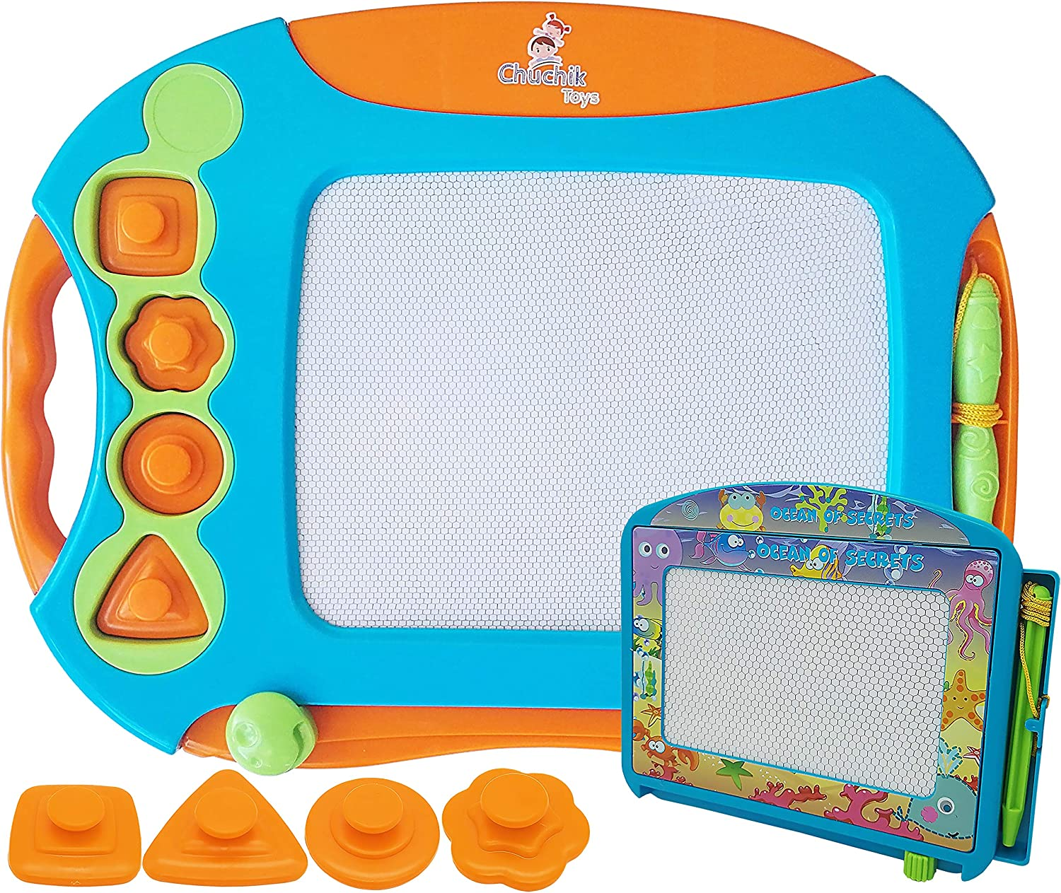 CHUCHIK Toys Magnetic Drawing Board Set for Kids and Toddlers. Large 15.7 Inch Magna Doodle Writing Pad Comes with a 4-Color Travel Size Sketch Doodle Board