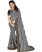 Jamkudi International'S Gorgeous Black-White Striped Designer Georgette Saree